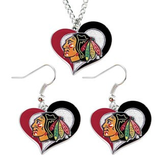 NHL Chicago Blackhawks Swirl Heart Necklace and Earring Set Charm Gift