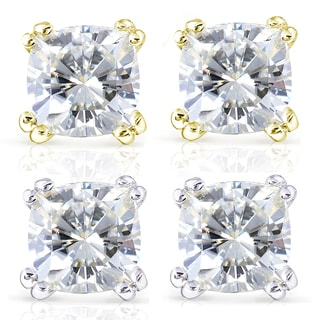 Annello by Kobelli 14k Gold 2 1/5ct TGW Cushion-cut 6MM Moissanite (H-I) Classic Solitaire Stud Earrings