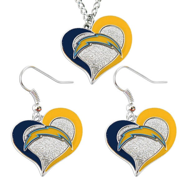 NFL SAN Diego Chargers Swirl Heart Necklace and Earring Set Charm Gift