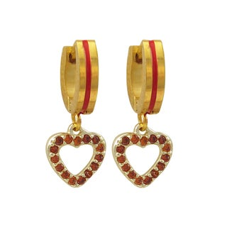 Luxiro Gold Finish Red Cubic Zirconia Heart Children's Dangle Earrings