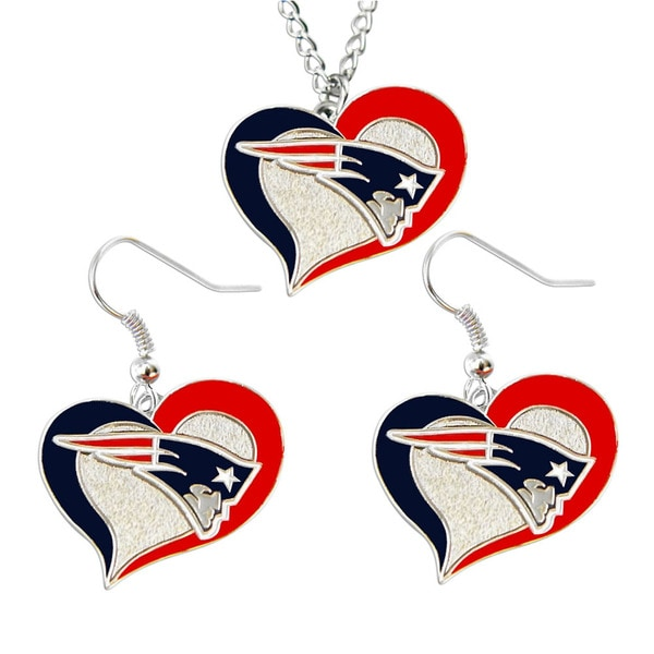 NFL New England Patriots Swirl Heart Necklace and Earring Set Charm Gift