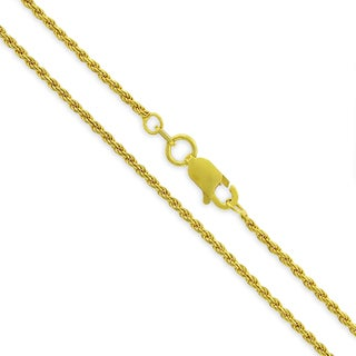 .925 Sterling Silver 1.5mm Solid Rope Diamond Cut Yellow Gold Plated Chain Necklace