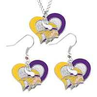 NFL Minnesota Vikings Swirl Heart Necklace and Earring Set Charm Gift