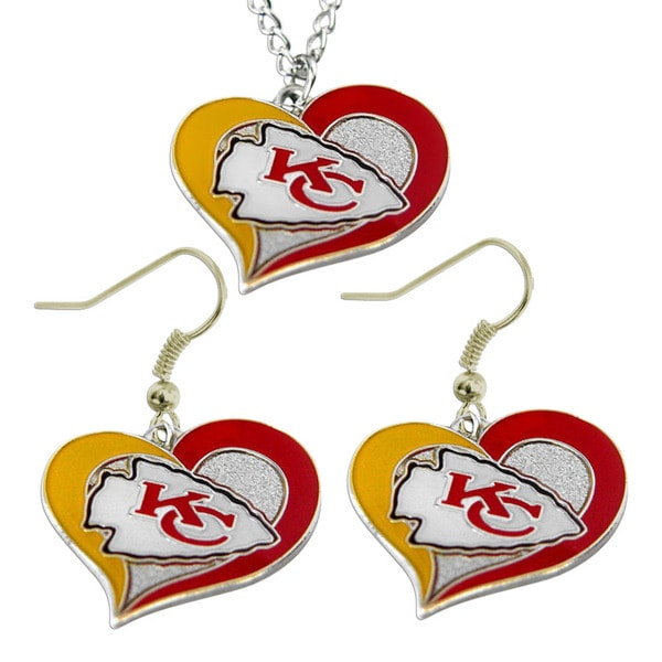 NFL Kanas City Chiefs Swirl Heart Necklace and Earring Set Charm Gift