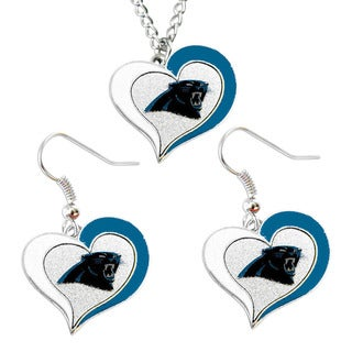 NFL Carolina Panthers Swirl Heart Necklace and Earring Set Charm Gift