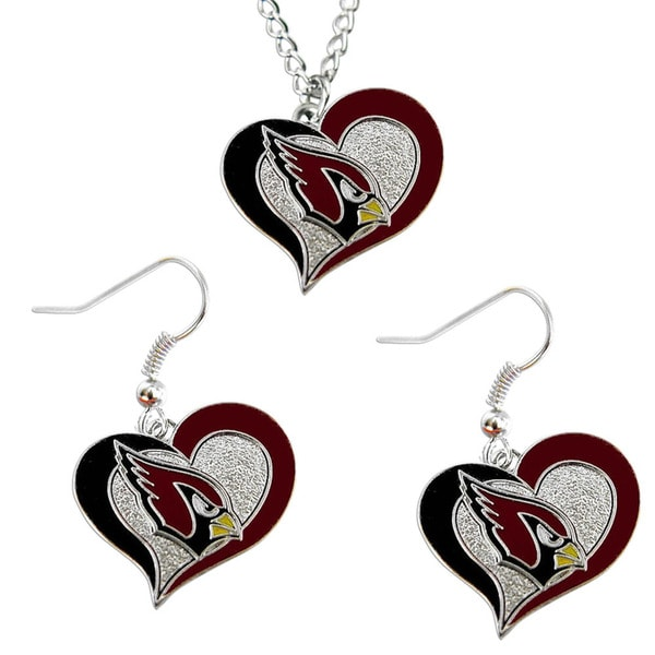 NFL Arizona Cardinals Swirl Heart Necklace & Earring Set Charm Gift