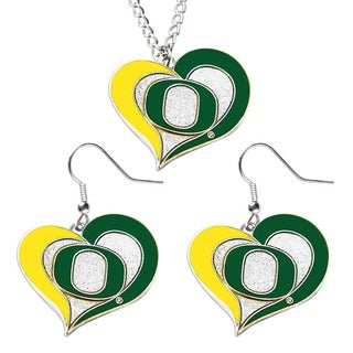 NCAA Oregon Ducks Swirl Heart Dangle Logo Necklace and Earring Set Charm Pendant Gift