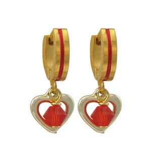 Luxiro Gold Finish Red Crystal Bead Heart Children's Huggie Dangle Earrings