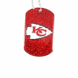 NFL Kansas City Chiefs Fan Dog Tag Glitter Necklace