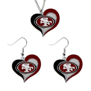 NCAA SAN Francisco 49ers Swirl Heart Pendant Necklace And Earring Set Charm Gift