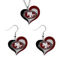 NCAA SAN Francisco 49ers Swirl Heart Pendant Necklace And Earring Set Charm Gift