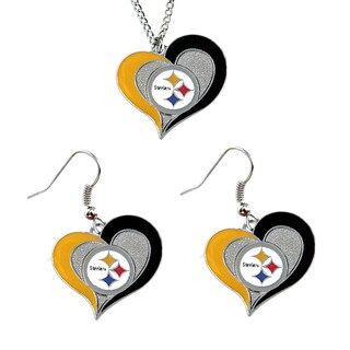 NCAA Pittsburgh Steelers Swirl Heart Pendant Necklace And Earring Set Charm Gift