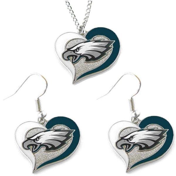 NCAA Philadelphia Eagles Swirl Heart Pendant Necklace And Earring Set Charm Gift