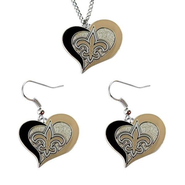 NCAA New Orleans Saints Swirl Heart Pendant Necklace And Earring Set Charm Gift