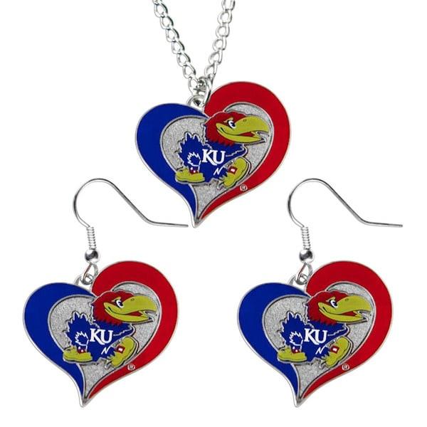 NCAA Kansas Jayhawks Swirl Heart Pendant Necklace And Earring Set Charm Gift