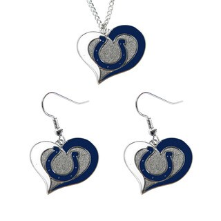NCAA Indianapolis Colts Swirl Heart Pendant Necklace And Earring Set Charm Gift