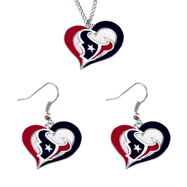 NCAA Houston Texans Swirl Heart Pendant Necklace And Earring Set Charm Gift