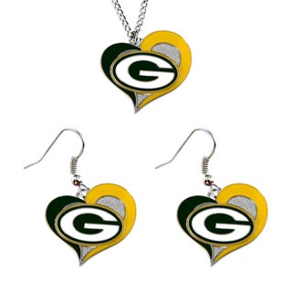 NCAA Green Bay Packers Swirl Heart Pendant Necklace And Earring Set Charm Gift