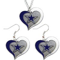 NCAA Dallas Cowboys Swirl Heart Pendant Necklace And Earring Set Charm Gift