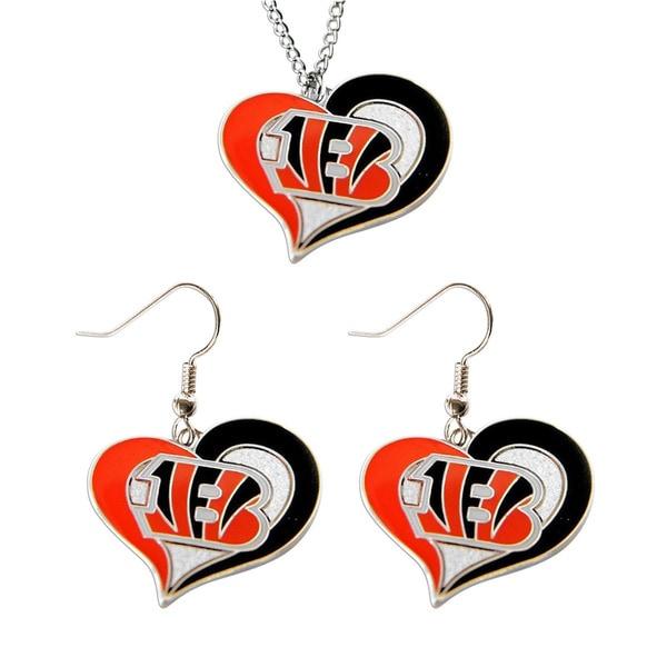 NCAA Cincinnati Bengals Swirl Heart Pendant Necklace And Earring Set Charm Gift