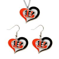 NCAA Cincinnati Bengals Swirl Heart Pendant Necklace And Earring Set Charm Gift