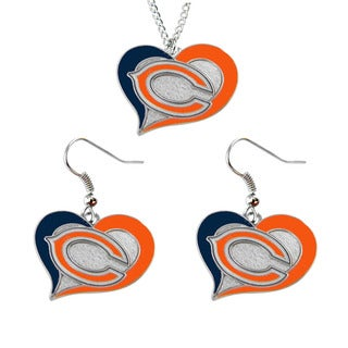 NCAA Chicago Bears Swirl Heart Pendant Necklace And Earring Set Charm Gift