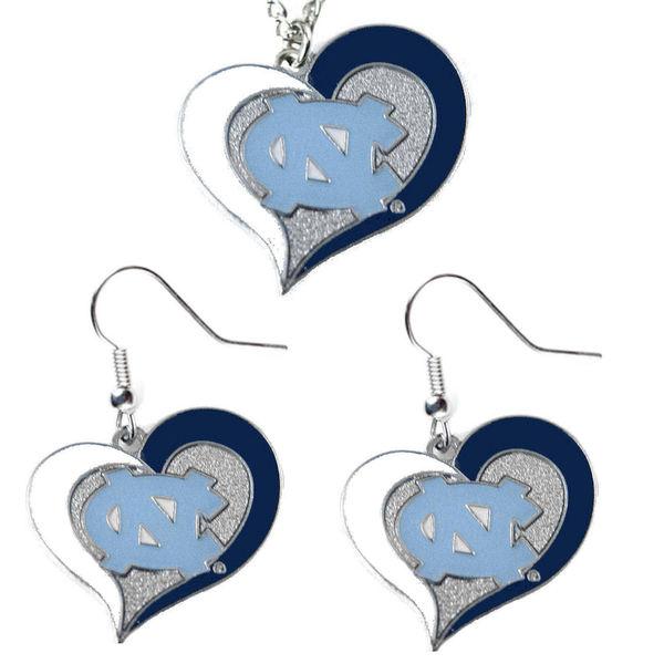 NCAA UNC North Carolina Tar Heels Swirl Heart Dangle Logo Necklace and Earring Set Charm Pendant Gift
