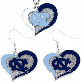 NCAA UNC North Carolina Tar Heels Swirl Heart Dangle Logo Necklace and Earring Set Charm Pendant Gift