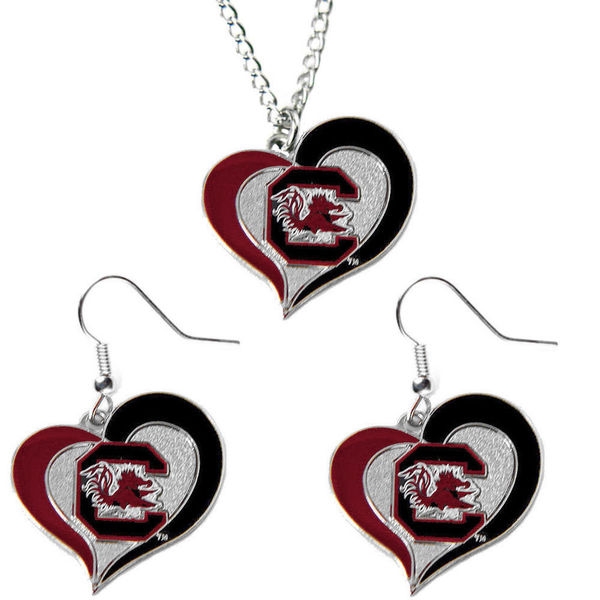 NCAA South Carolina Gamecocks Swirl Heart Dangle Logo Necklace and Earring Set Charm Pendant Gift