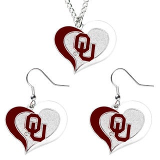 NCAA Oklahoma Sooners Swirl Heart Dangle Logo Necklace and Earring Set Charm Pendant Gift