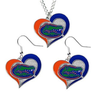 NCAA Florida Gators Swirl Heart Dangle Logo Necklace and Earring Set Charm Pendant Gift