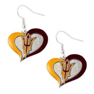 NCAA Arizona State Sun Devils ASU Swirl Heart Dangle Logo Earring Set Charm Gift