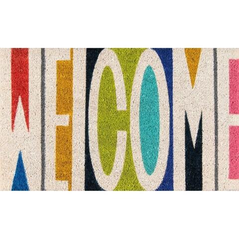 """Novogratz by Momeni Aloha Welcome Coir Doormat - 1'6"""" x 2'6"""""""