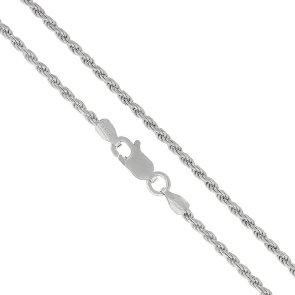 """Authentic Solid Sterling Silver 2mm Rope Diamond-Cut Braided Twist Link .925 Rhodium Necklace Chain 16"""" - 30"""", Made In Italy"""