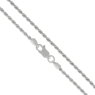 .925 Sterling Silver 2mm Solid Rope Diamond Cut Rhodium Chain Necklace