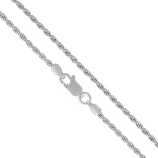 "Authentic Solid Sterling Silver 2mm Rope Diamond-Cut Braided Twist Link .925 Rhodium Necklace Chain 16"" - 30"", Made In Italy"