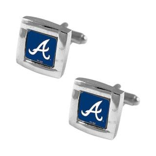 "MLB 5/8"" Atlanta Braves Square Cufflinks with Square Shape Logo Design Gift Box Set"