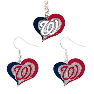 MLB Washington Nationals DC Swirl Heart Necklace and Dangle Earring Set Charm Gift