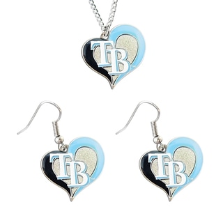 MLB Tampa Bay Rays Swirl Heart Necklace and Dangle Earring Set Charm Gift