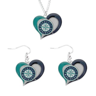 MLB Seattle Mariners Swirl Heart Necklace and Dangle Earring Set Charm Gift