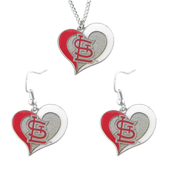 MLB St Louis Cardinals Swirl Heart Necklace and Dangle Earring Set Charm Gift
