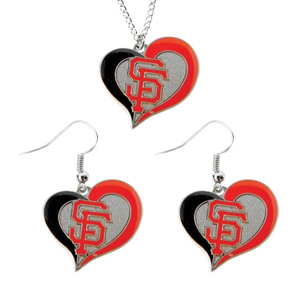 MLB San Francisco Giants Swirl Heart Necklace and Dangle Earring Set Charm Gift