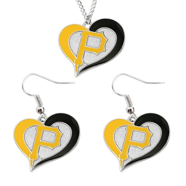 MLB Pittsburgh Pirates Swirl Heart Necklace and Dangle Earring Set Charm Gift