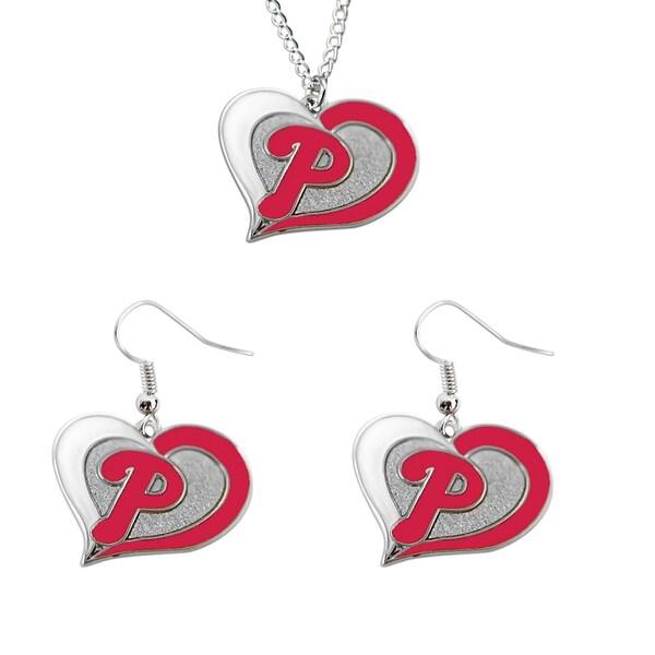 MLB Philadelphia Phillies Swirl Heart Necklace and Dangle Earring Set Charm Gift