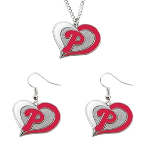 MLB Philadelphia Phillies Swirl Heart Necklace and Dangle Earring Set Charm Gift