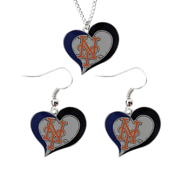 MLB New York Mets Swirl Heart Necklace and Dangle Earring Set Charm Gift