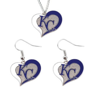 MLB Kansas City Royals Swirl Heart Necklace and Dangle Earring Set Charm Gift