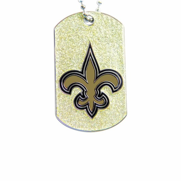 NFL New Orleans Saints Dog Fan Tag Glitter Necklace