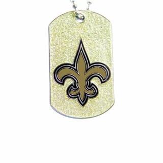 NFL New Orleans Saints Dog Fan Tag Glitter Necklace