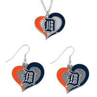 MLB Detroit Tigers Swirl Heart Necklace and Dangle Earring Set Charm Gift